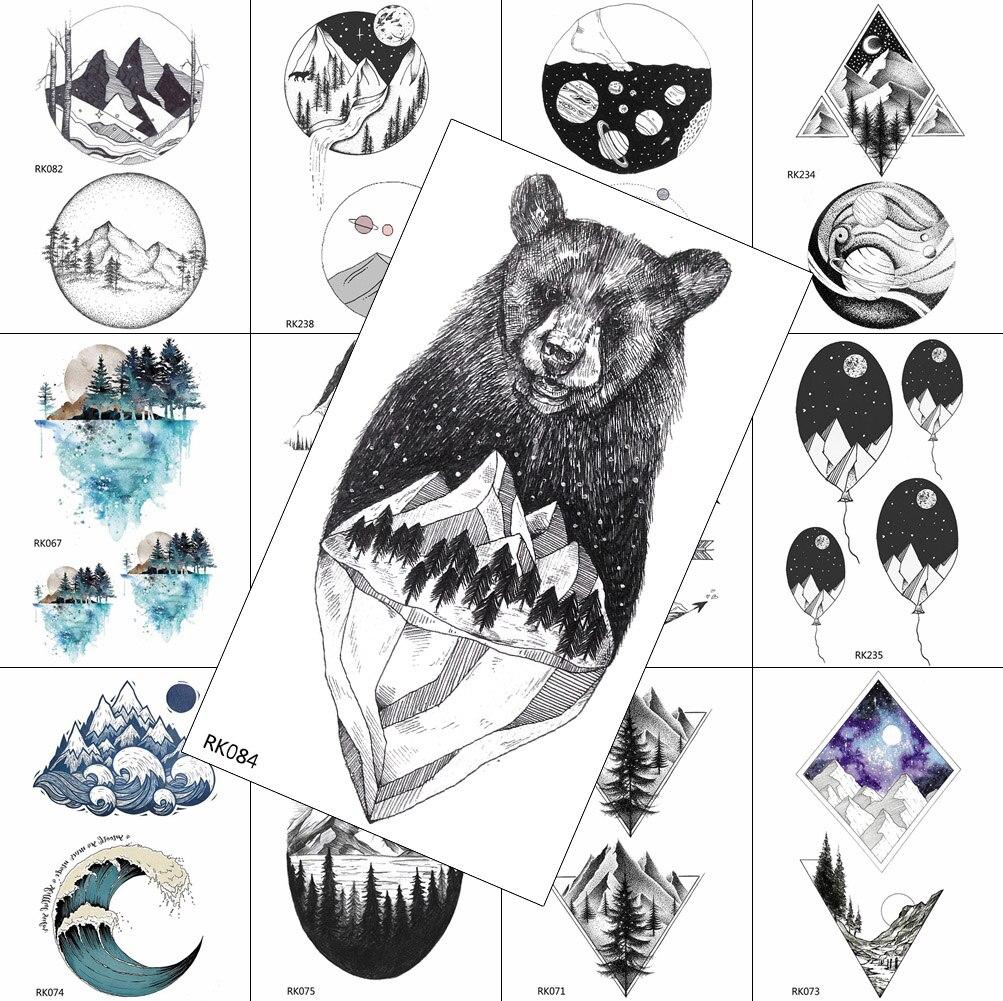 Tatuajes Temporales calcomanías de montaña de oso estrella negro universo árbol agua Transferabl tatuaje arte corporal dibujo falso tatuajes geométricos