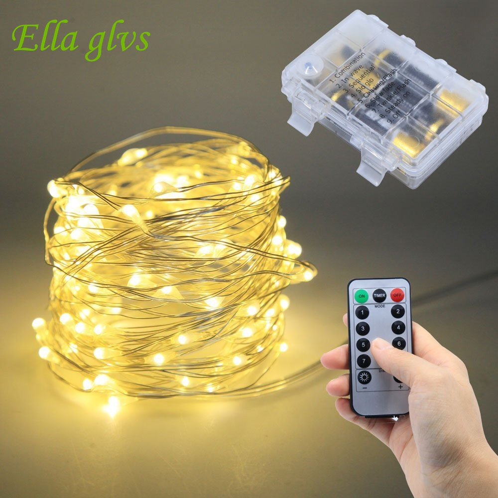 8 Modes 33 Fft 100 leds Waterproof Battery Powered Led String Lights With Remote Control Indoor and Outdoor Party Home