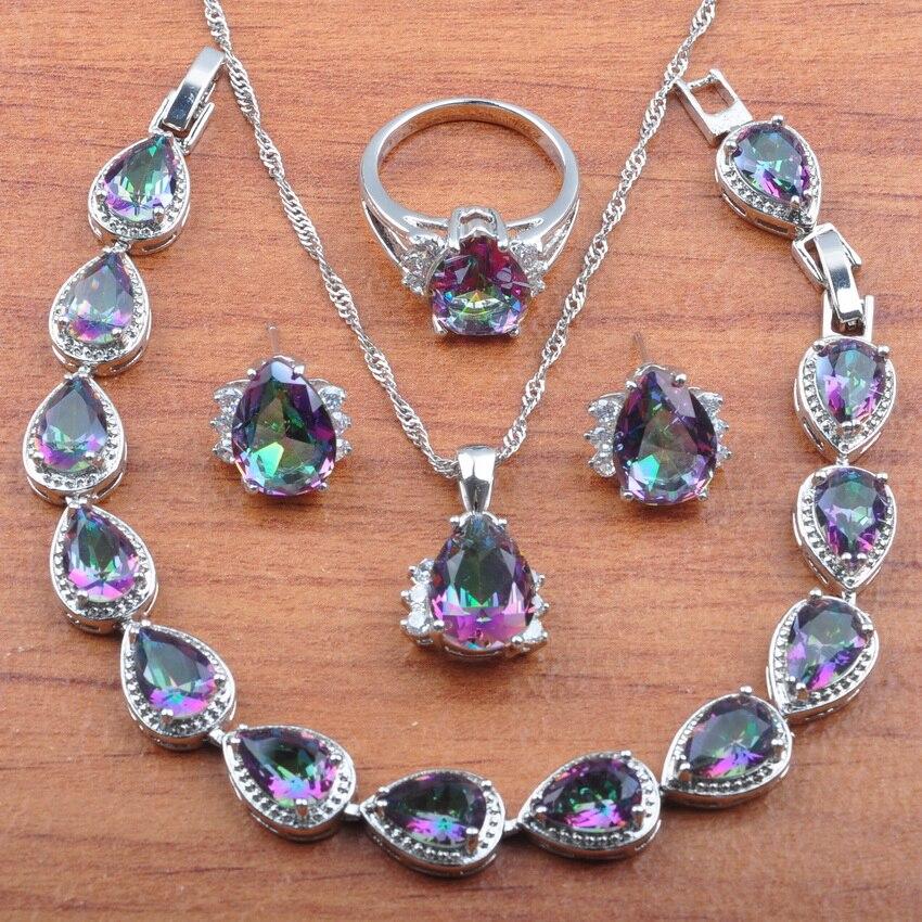 Natural australiano de plata de cristal de Color oro de Dubai conjunto de joyería para mujer arcoíris para boda de mejor regalo JS0259