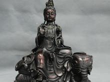 "9 ""china kwan-yin guanyin buda de lótus passeio elefante estátua de bronze"