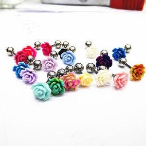 Free Shippment 50PCS Body jewelry-Korea  Flowers Ear Stud Diath Tragus/Helix Bar/Stud Prong Earring 16G New