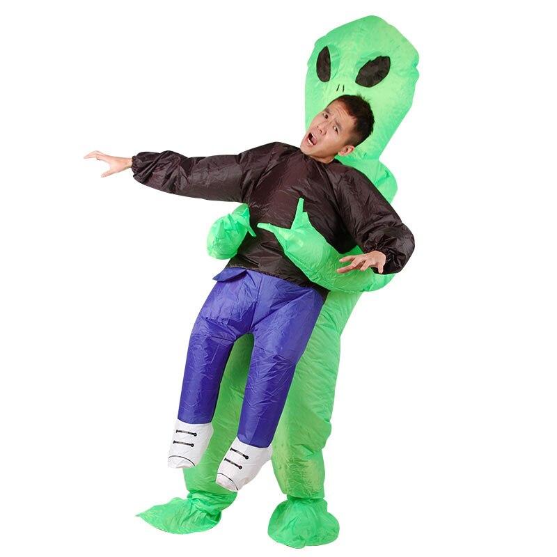 Alienígena inflável trajes extraterrestres para o homem fantasia adulto monstro assustador verde alienígena festa de halloween traje para adulto