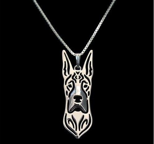 Collar de perro gran danés, COLLAR COLGANTE, joyería para mujeres, color dorado plateado, diseño creativo