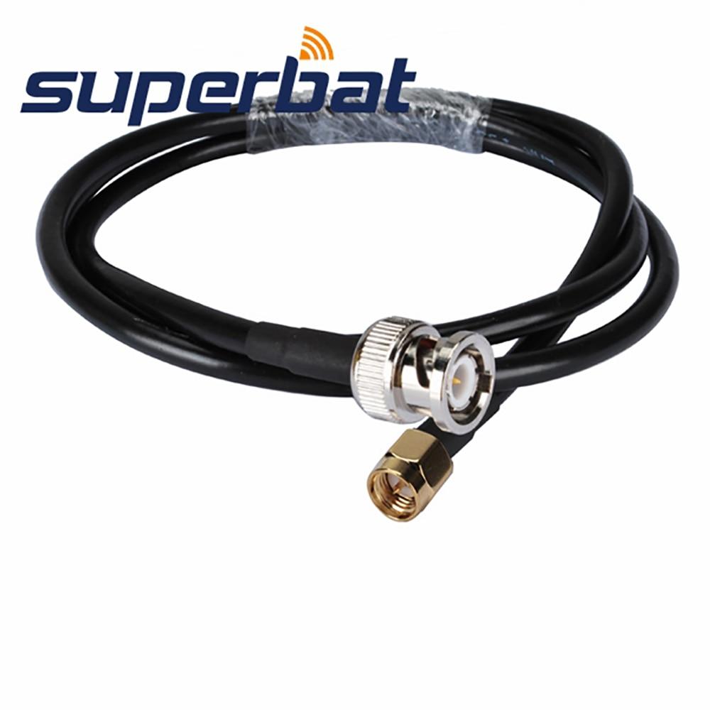 superbat bnc straight male plug to sma plug straight antenna feeder pigtail cable rg58 300cm Superbat BNC Straight Male Plug to SMA Plug Straight  Antenna Feeder Pigtail Cable RG58 300cm