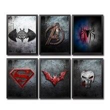 Tableau mural de bande dessinée Marvel Avengers   Super héros, Logo, imprimés artistiques, toile, noir blanc, décor pour enfants, salon