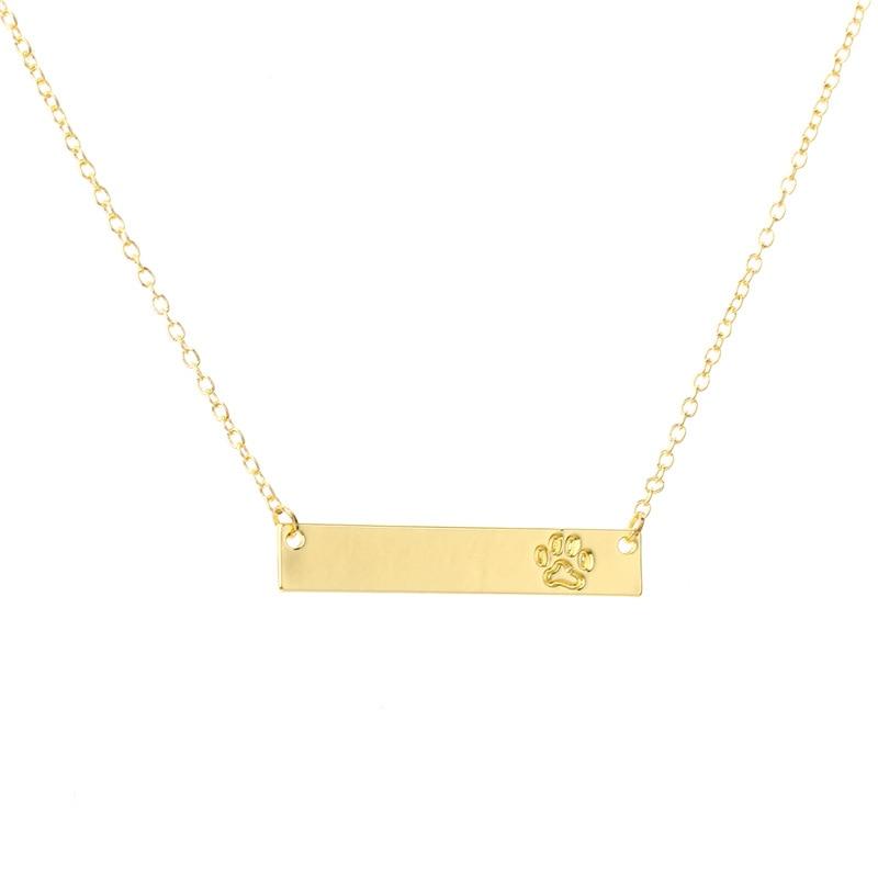 Metal Plate Bar Pendant Necklace Pet Dog Paw Dots Necklace For Women
