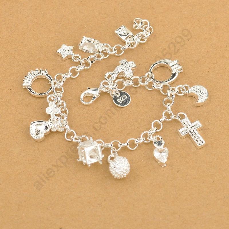 Exquisita pulsera de plata de ley 925 de alta calidad, colgantes bonitos con Cruz, Luna Corazón, reloj, joyería para mujeres y niñas