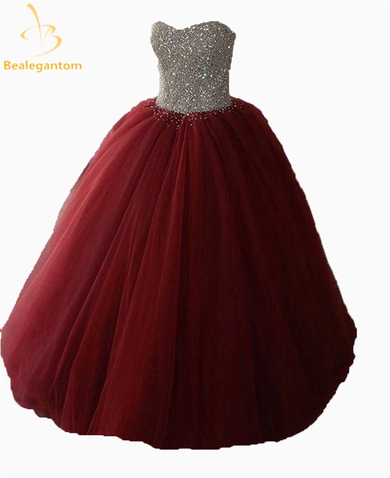 2019 New Sexy Purple Ball Gown Quinceanera Dresses Beaded Crystals Prom Sweet 16 Dress Vestidos De 15 Anos QA1205