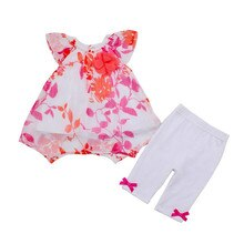 Print Short Sleeve Summer Toddler Kids Baby Girls Clothes Sets Chiffon Blouse T Shirts Pants 2pcs Outfits Girl Clothing
