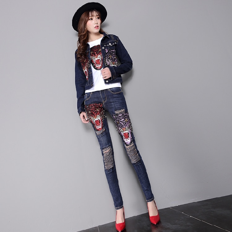 2018 New Spring Autumn Fashion Women's Sets Embroidery Sequins Tiger Denim Jackets + Hole Slim Pencil Jeans Feminine Suits