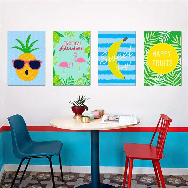 Feliz Frutas Frescas De Limão Banana abacaxi Adesivos de Parede restaurante cafe kitchen decor poster Mural Decalque em Parede