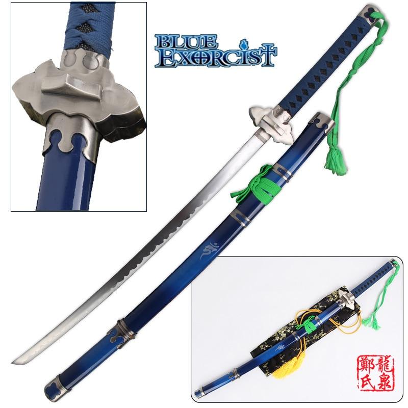 41 pulgadas azul exorcista espada Ao no Ekusoshisuto Rin Okumura Kurikara katana Cosplay accesorios espadas decorativas No Sharp
