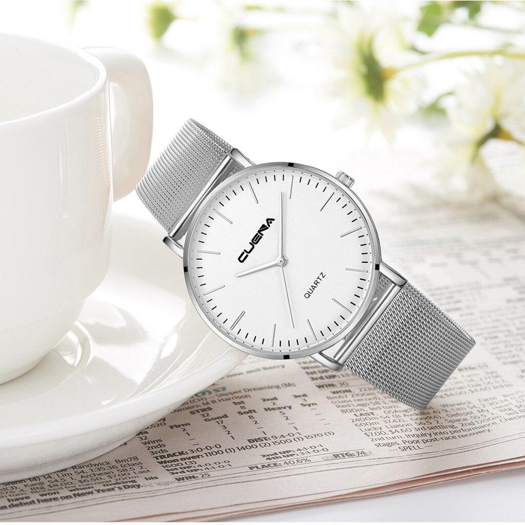 CUENA Fashion Luxury Men Women Watches Quartz Stainless Steel Dial Casual Bracele Mens Unisex Clock Wrist Watches relogio
