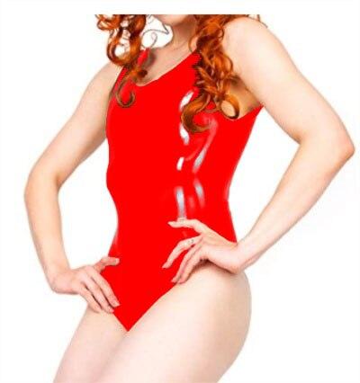 100% Latex Gummi Gummi Trikot Form Körper Badeanzug Rot Latex Bodysuit