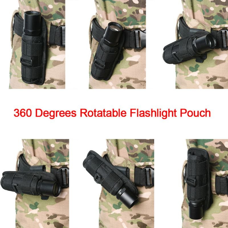 Tactical 360 Degrees Rotatable Flashlight Pouch Holster Torch Case for Belt Torch Cover Hunting Ligh