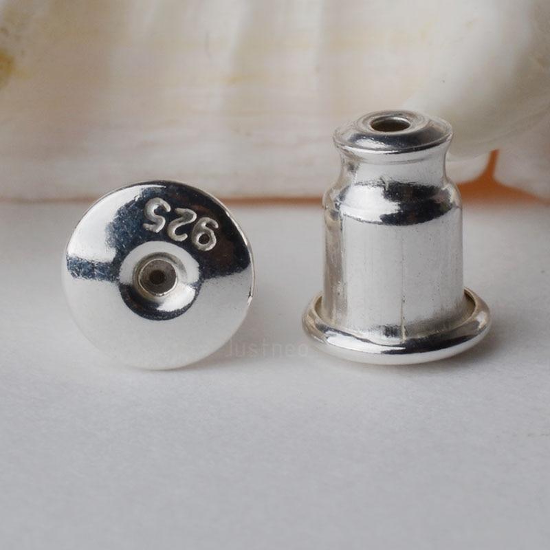 Tuerca de oreja, sólida plata 925 parte posterior de los pendientes, tapón trasero de fricción de los pendientes de perno, 1 par