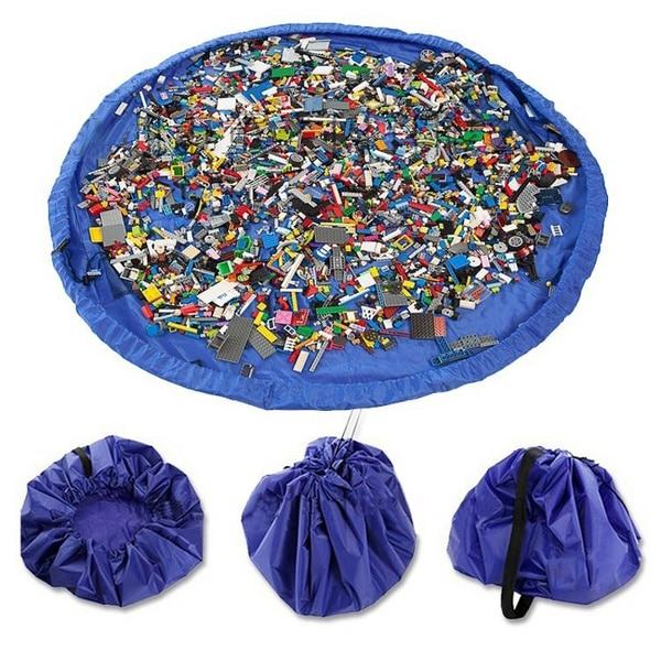 45cm Portable Kids Toys Organizer Waterproof Outdoor Cushion Storage Bags Play Mat Lego Blanket Rug Bin Box Bunch Pocket