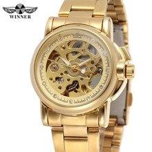 GEWINNER Frauen Uhren Klassische Strass Uhr Female Top Marke Luxus Skeleton Uhren Automatische Mechanische Damenuhr Hot 0304