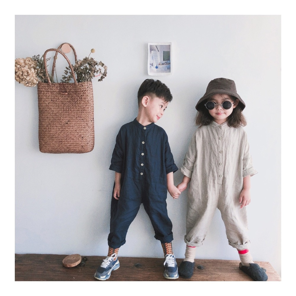 Primavera Unisex niños monos de algodón de lino pantalones sueltos bebé de estilo coreano niños niñas monos ropa de niños