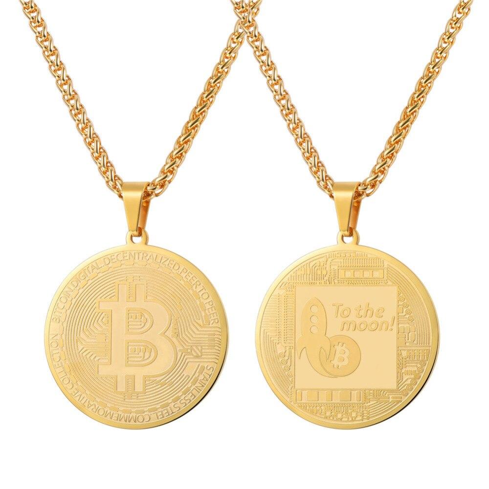 Collar de monedas de Bitcoin para hombres, colgante de moneda virtual de acero inoxidable de Color dorado, cadena de Hip Hop