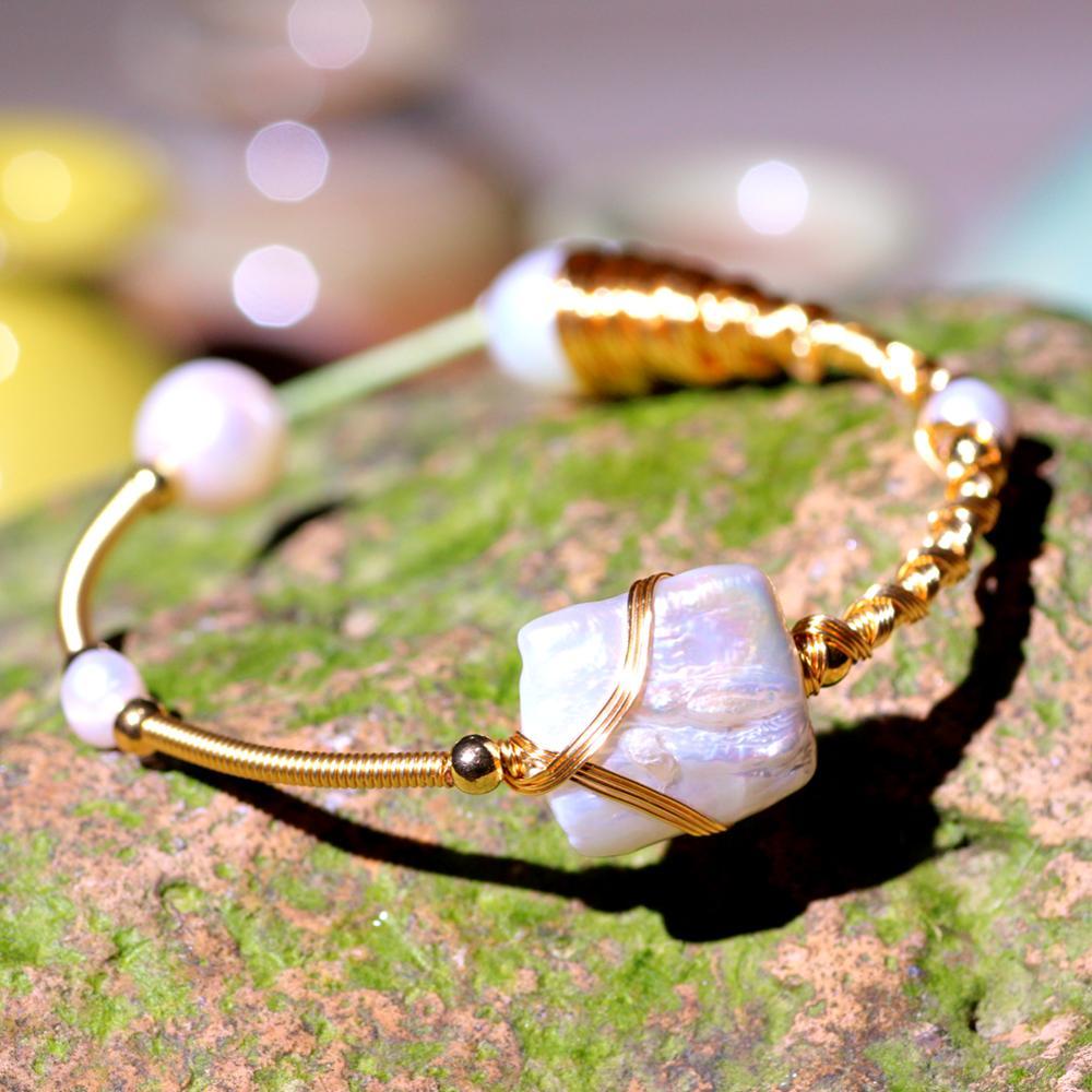 SEVEN GIRL Freshwater Baroque Pearl Bracelet & Bangles  for Women Gift Adjustable Open Pearl Bracelet Fine Jewelry