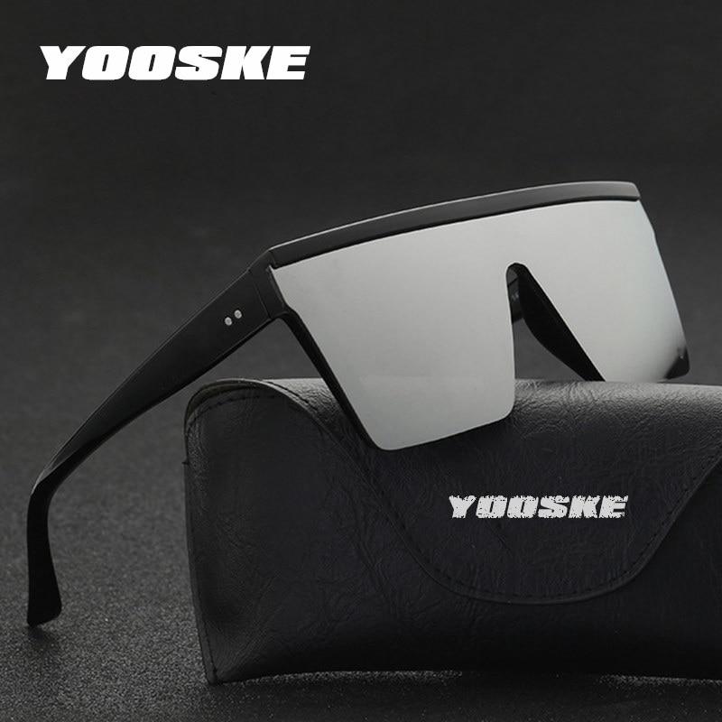 YOOSKE Oversized Sunglasses Men Vintage Brand Driving Sun Glasses Women Flat Top Big Frame Sunglass