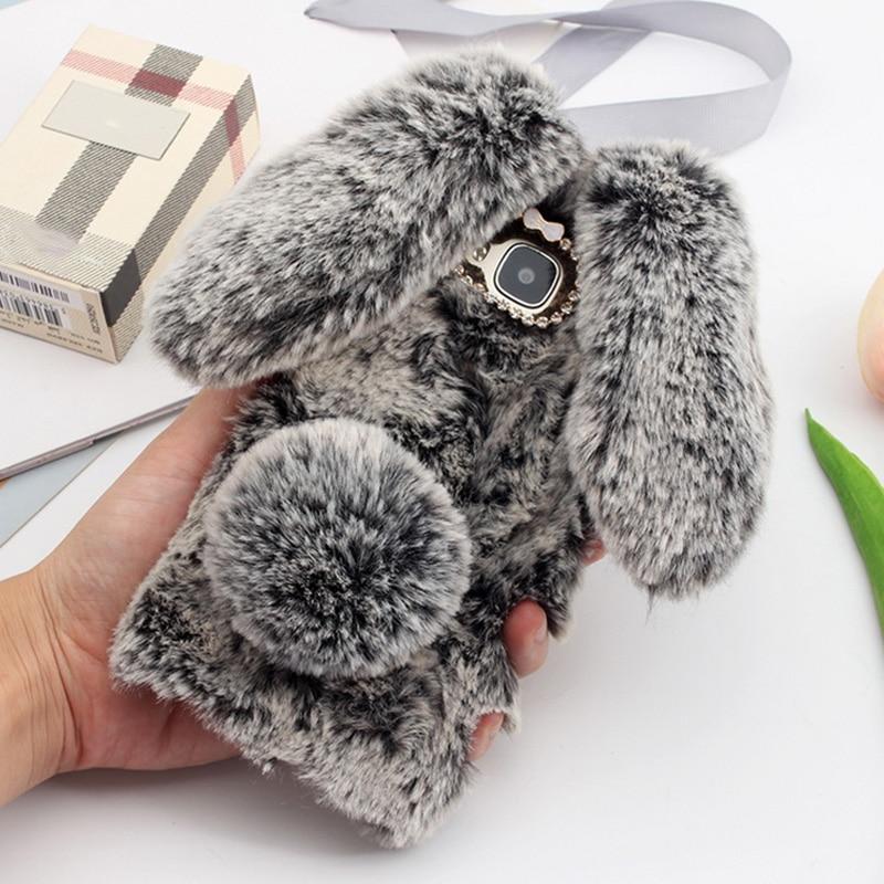 "Para Huawei GX8 funda 3D bonito conejo peludo estuche de piel caliente Bling Rhinestone Conejito de peluche cubierta de la muchacha para Huawei G8 RIO L01 L02 5,5"""