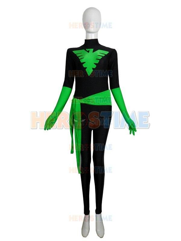 Disfraz de superhéroe Fénix negro y verde x-men, cosplay de lycra para Halloween, disfraz para adultos x-men, gran oferta, traje Zentai, Envío Gratis
