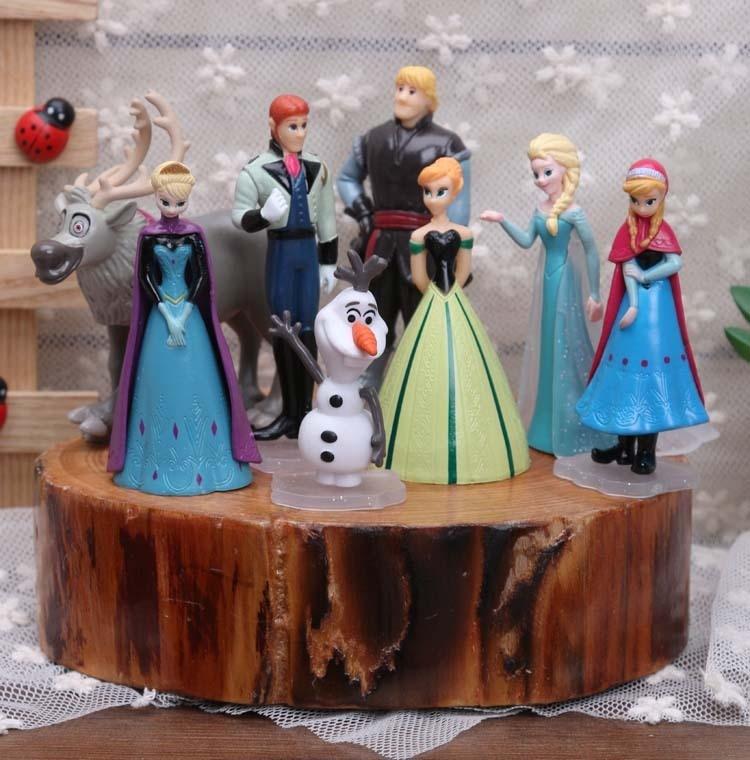 Disney Toys 8pcs/Set 5-9cm Frozen Anna Elsa Kristoff Olaf Action Figures For Girls Kids Toys Fashion Dolls Models Toys Best Gift