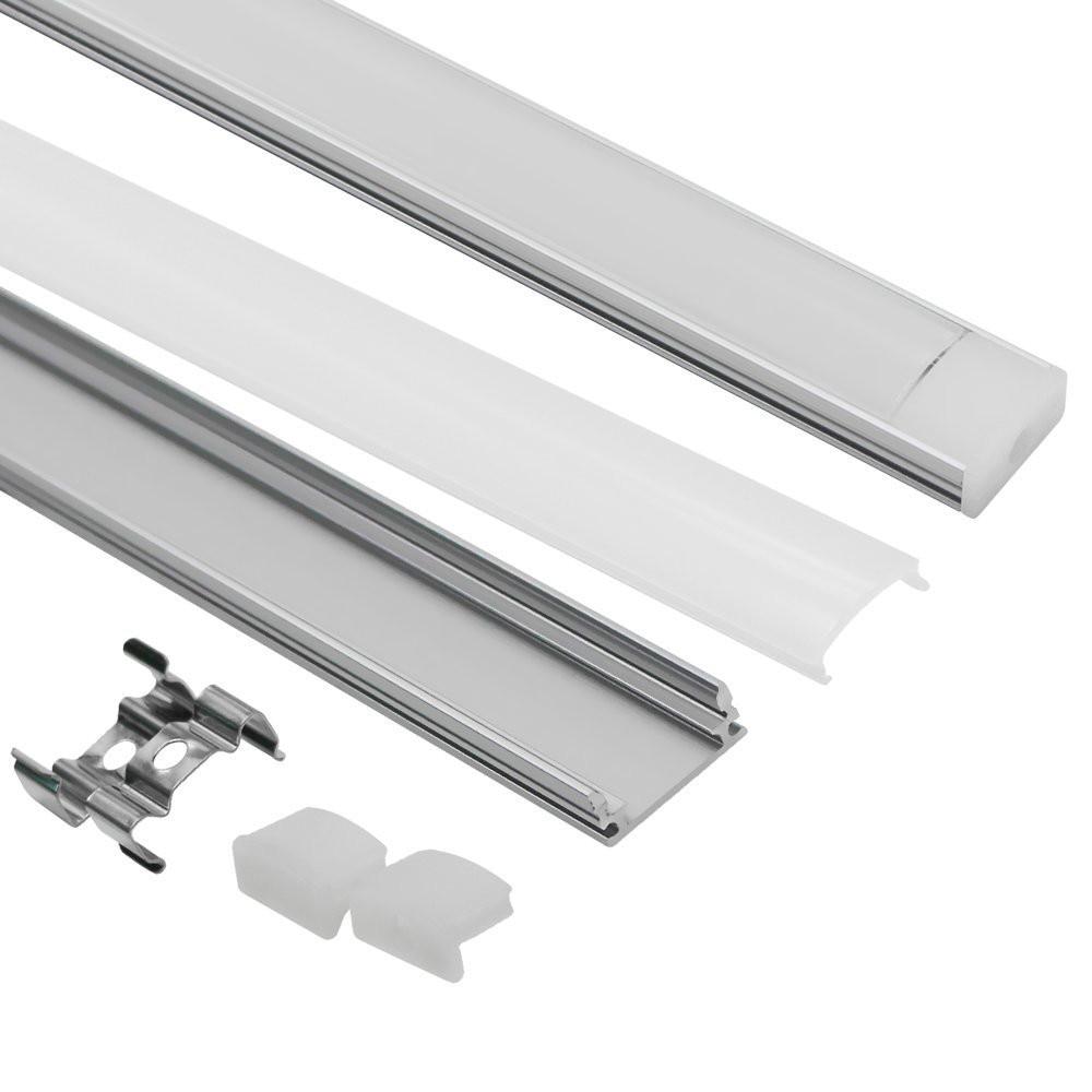 10/12/15/18/20/50 Uds. DHL 1m LED tira perfil de aluminio para 5050 5630 LED Barra de discoteca Barra de luz led caja de canal de aluminio con tapa