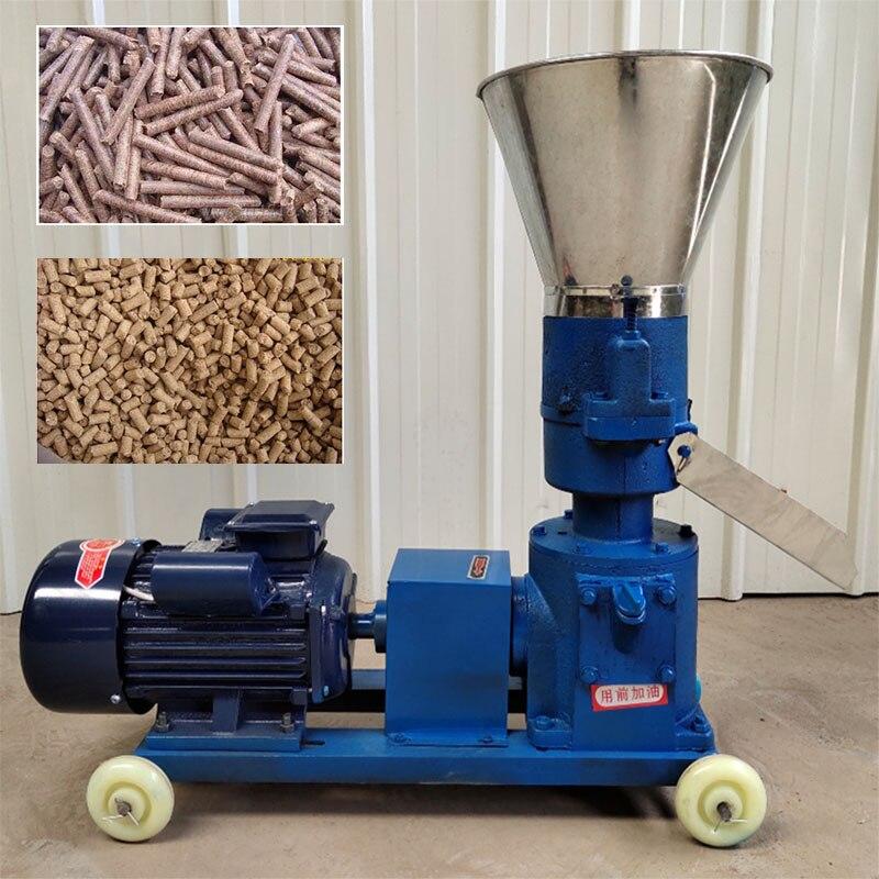 Prensa de pellets KL125, 4 kW, molino de pellets de madera para alimentación Animal, máquina de pellets de biomasa