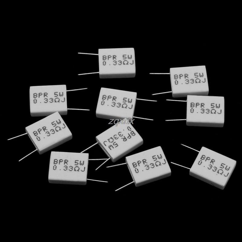 10 Uds 0,33/0,1/0.22R Ohm 5 W 5% Resistor de cemento no inductivo BPR56 triangulación de envíos