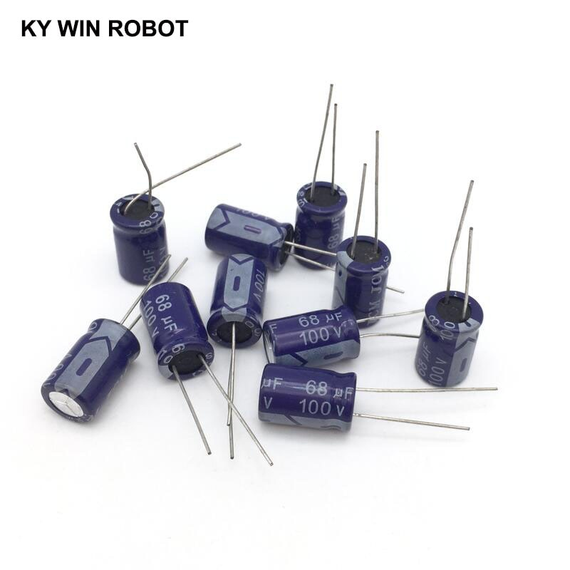 10 pcs Aluminum electrolytic capacitor 68 uF 100 V 10 * 17 mm frekuensi tinggi Radial Electrolytic kapasitor конденсатор duelund vsf 100 v 4 7 uf aluminium