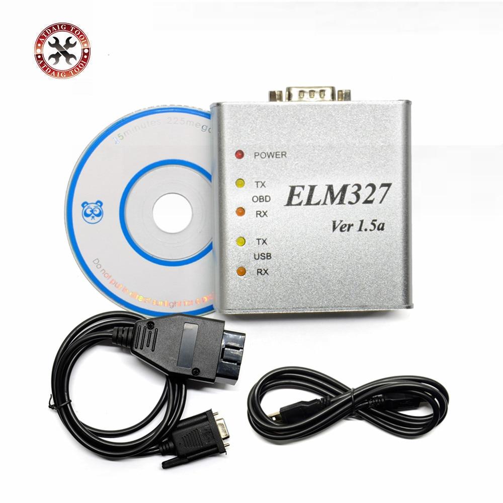 USB ELM327 ELM 327 מתכת אלומיניום מתכת קייס Elm 327 V1.5 USB/תמיכה בכל פרוטוקולי OBDII OBD2 רכב האוטומטי לאבחון V1.5a סורק