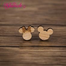 Hfarich kreskówka myszka miki stadniny kolczyki Minnie śliczne zwierzę Kitty mysz drewniana biżuteria Bowknot dzieci dzieci prezent minimalistyczny Aretes