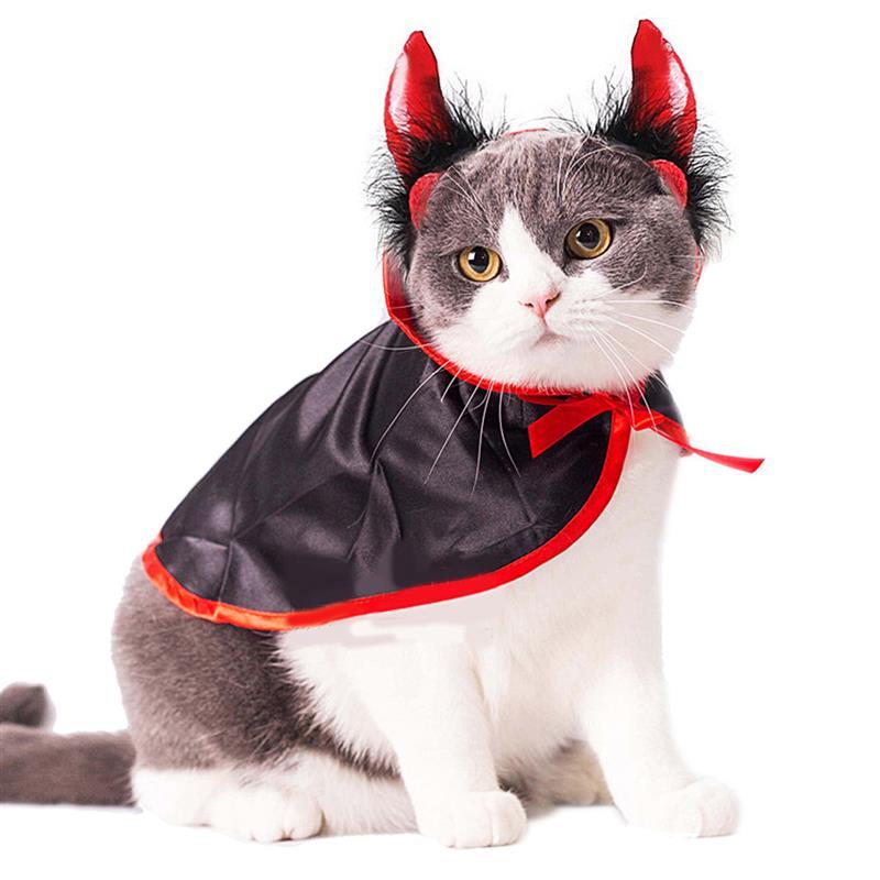 Disfraces de Halloween para mascotas, capa de vampiro de Cosplay, gorro para perro con cuernos de Cosplay