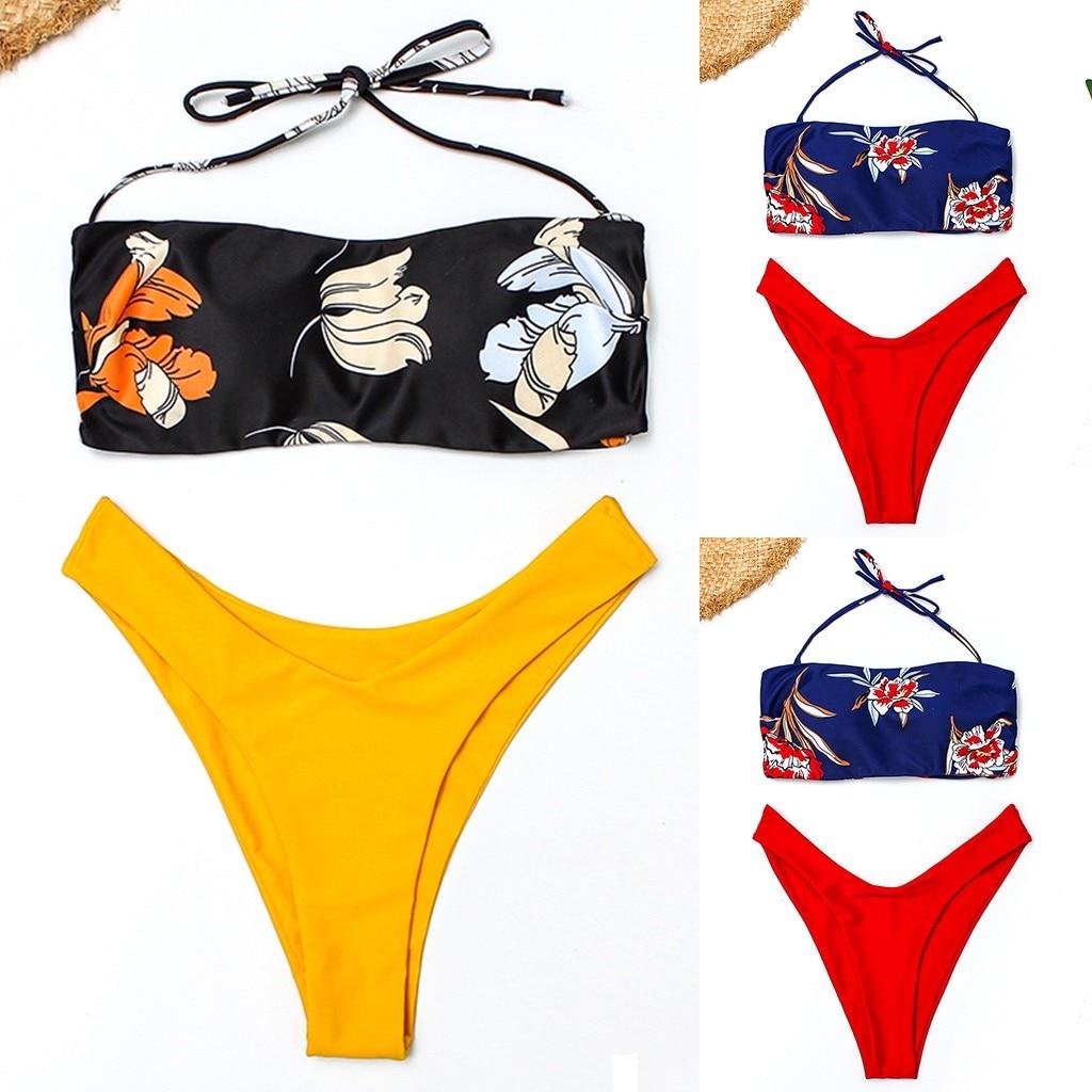 Trajes de baño de dos piezas para mujer, traje de baño sexy para mujer, Micro traje de baño con relleno, Bikini, maillot de baño para mujer 2020