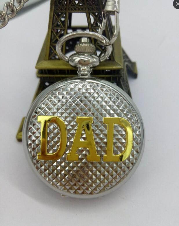 Papá Vintage Acero blanco plata palabras doradas Flip romano números hombre regalo collar relojes de bolsillo vapor punk
