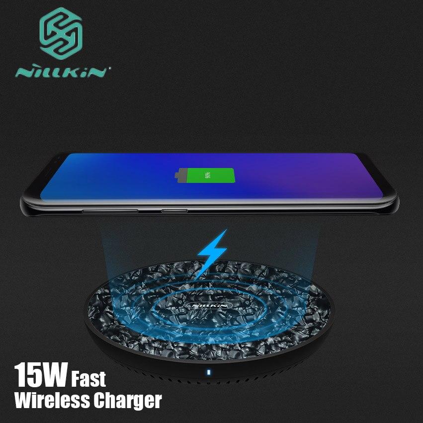 Cargador inalámbrico Nillkin Qi para iPhone XS Max XR X 8 Plus 15W Panel de carga de vidrio templado rápido para Samsung Note 9 8 S9 S8