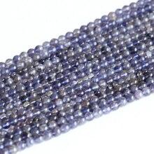 """Großhandel Natürliche Echte Klar Blau Iolite Lynx Stein Runde Lose Kleine Perlen 4-6mm 15 """"05007"""