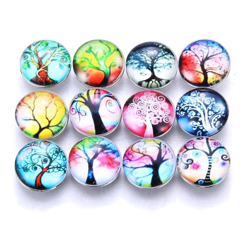 10 teile/los Neue Glas Snap Schmuck Baum des Lebens Mixed Muster 18mm Glas Snap Tasten Für DIY Snap Armband 3021
