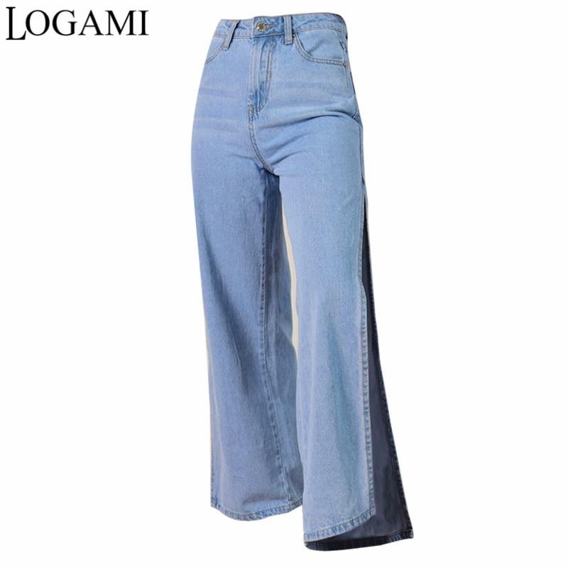 LOGAMI واسعة الساق انقسام عالية الخصر الجينز امرأة الدنيم الجينز السراويل النسائية جينز غير رسمي Mujer 2018