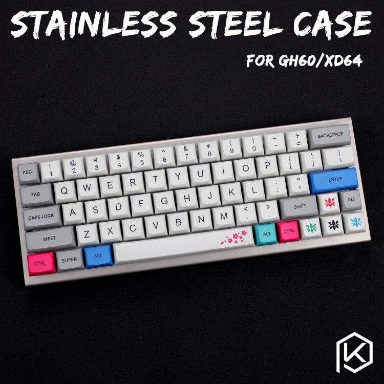 Caja de acero inoxidable para xd60 xd64 gh60 60% paneles acrílicos de teclado personalizados