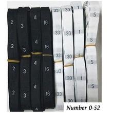 Étiquettes de vêtements tissés en tissu uni   500 pièces/rouleau, taille nombre blanc noir 0-56, étiquettes de vêtement pour costumes, sacs à coudre, personnalisées