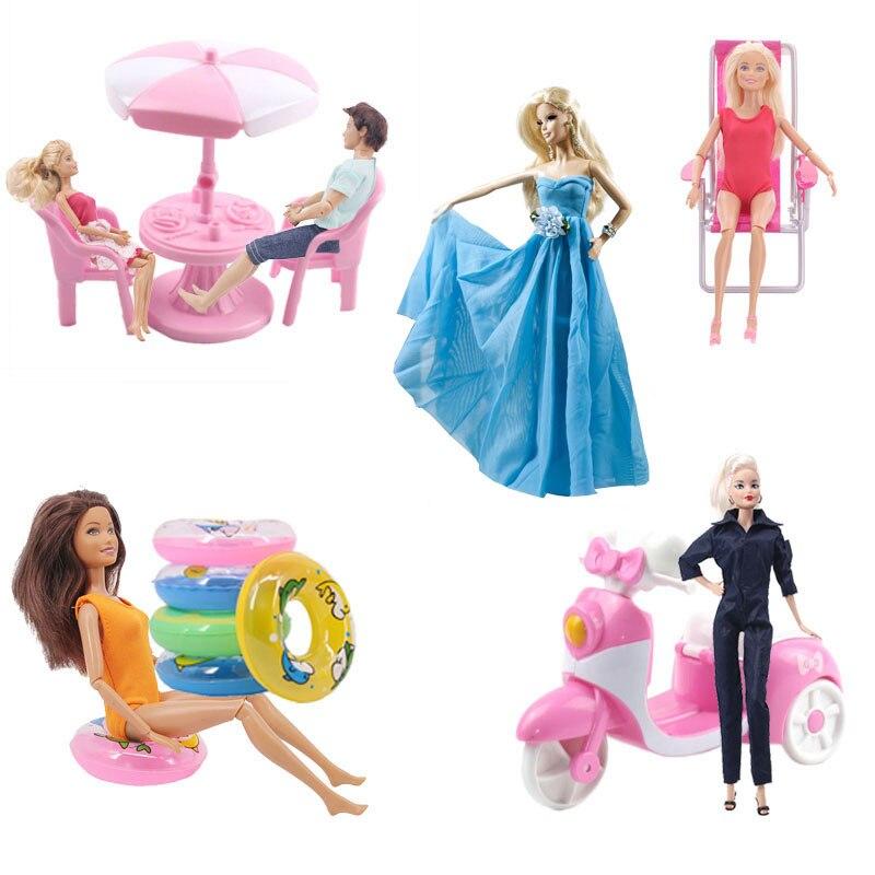 Muñeca ZWSISU, silla de coche de motocicleta, escritorio, sombrilla de playa, armario, muebles, accesorios de fiesta para Barbies, juguete para niñas