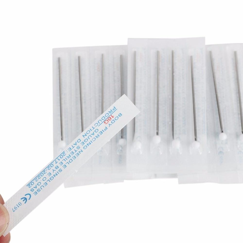 10 unids/lote agujas de perforación 16G accesorio de tatuaje agujas de perforación estériles desechables para el ombligo oreja aguja de tatuaje de nariz