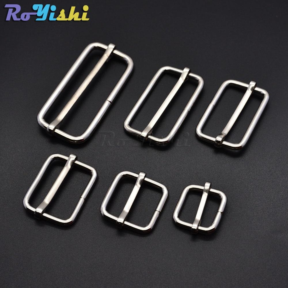 5 unidades/pacote prata metal slides tri-desliza fio-formado pino de rolo fivelas cinta slider ajustador fivelas