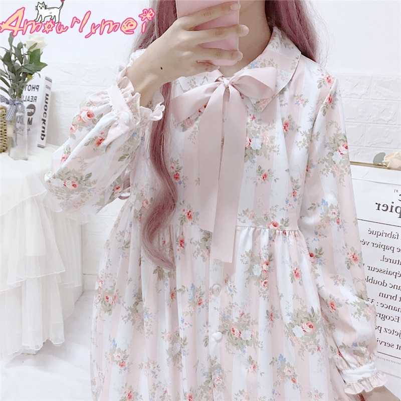 Vestido feminino 2019 primavera vestido feminino japonês mori menina bonito rosa arco floral impressão manga longa dres lolita kawaii doce vestido