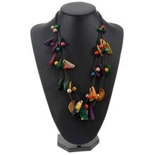 BeUrSelf Collier ethnique en coquille de noix de coco pour femmes Collier de perles Collier Femme bohème Tribal fait à la main en tricot multicouches bijoux