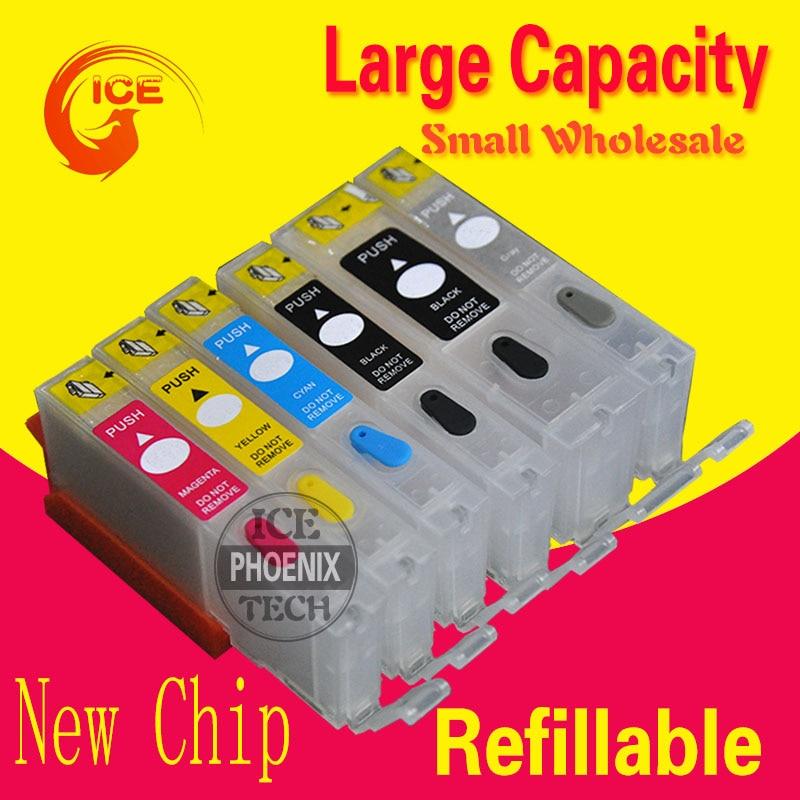 Para canon mg6370 mg7170 ip8770 mg7570 impressora 6 color cartucho de tinta recarregáveis cartucho de tinta pixma ip750